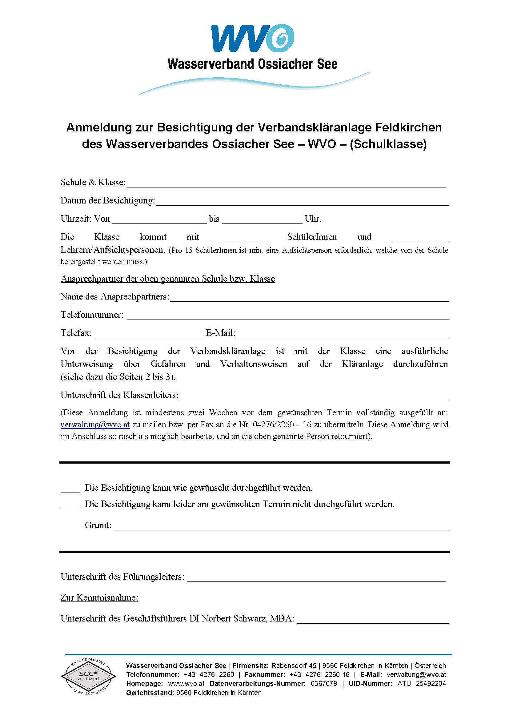 Anmeldung Besichtigung Kläranlage Feldkirchen  Anmeldung Besic...